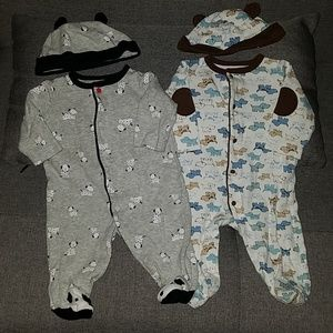 Little Me bundle 2 pairs boys sleepers with hats
